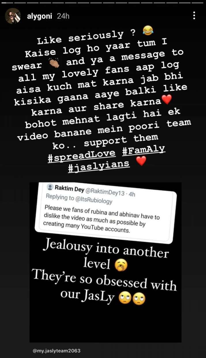 India Tv - Aly Goni lashes out at Rubina Dilaik's fans for asking to dislike Tera Suit video