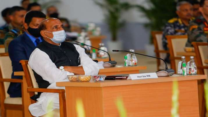 India Tv - Union Defence Minister Rajnath Singh at the Combined Commanders' Conference at Kevadia, Narmada district of Gujarat.