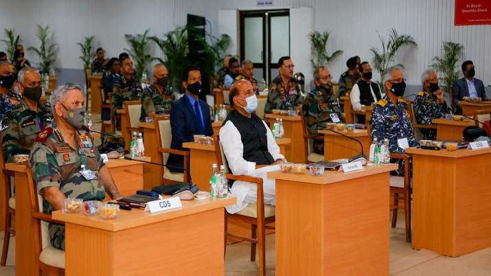India Tv - Union Defence Minister Rajnath Singh interacting with the Tri-service Commanders at the Combined Commanders' Conference at Kevadia, Narmada district of Gujarat.