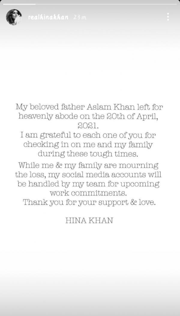 India Tv - Hina Khan's post