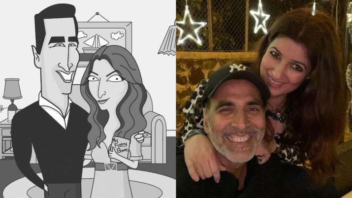 Akshay Kumar returns home he tests negative for COVID19; Twinkle Khanna shares adorable caricature