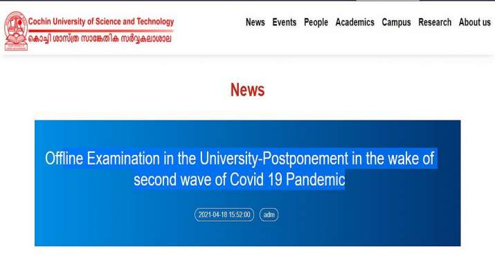 CUSAT: Cochin University postpones all university exams scheduled from April 19