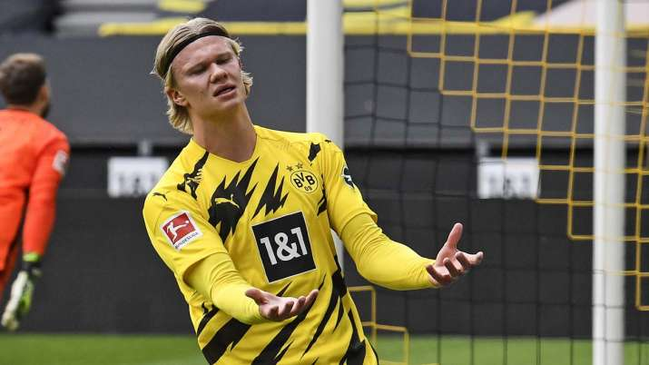 Dortmund's Erling Haaland reacts after missing a chance