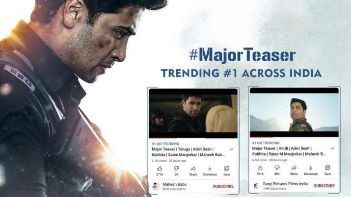 Adivi Sesh starrer Major teaser receives over 22mn views in two days