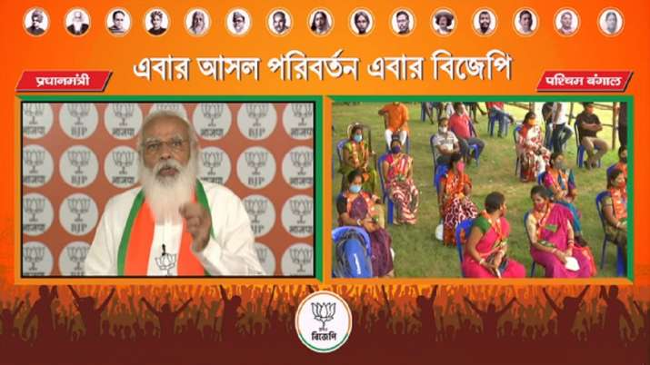 PM Modi addresses a virtual rally in West Bengal.