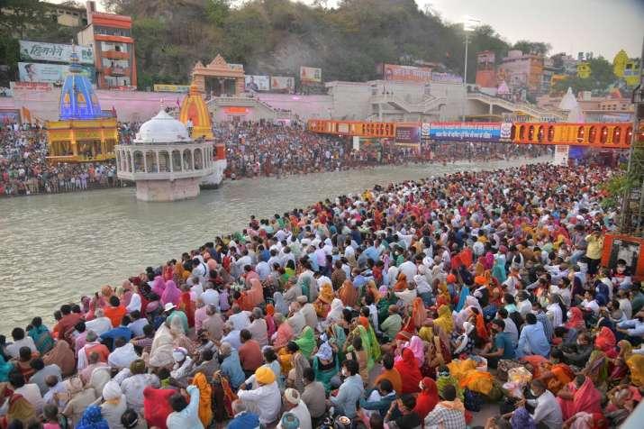 Kumbh Mela 2021 Har Ki Pauri social distancing coronavirus restrictions | India News – India TV