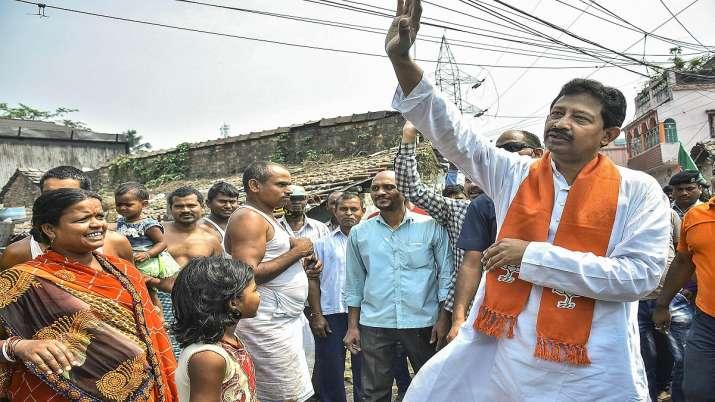 BJP leader Rajib Banerjee during his door-to-door campaign