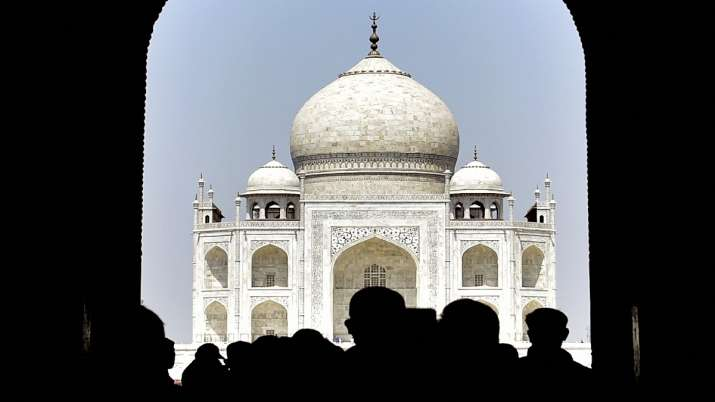 Visitors at the historic Taj Mahal in Agra.