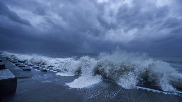 Rough sea in the Bay of Bengal ahead of Cyclone Yaas
