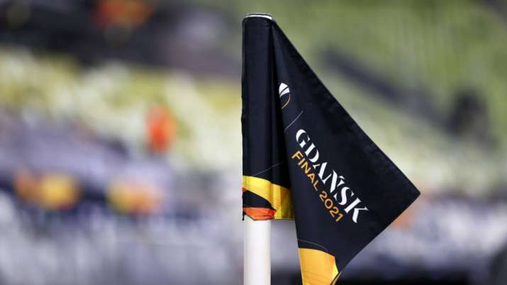 """A detailed view of a """"Gdansk Final 2021"""" corner flag is"""