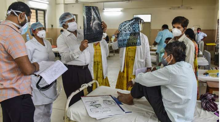 Doctors treat a Black Fungus infected patient at