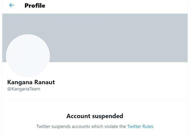 India Tv - Kangana Ranaut's Twitter account suspended