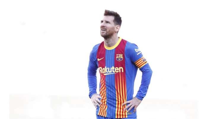 Barcelona's Lionel Messi reacts end of the Spanish La Liga