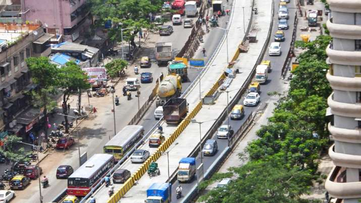 Construction work of an elevated road at Hindmata to allow