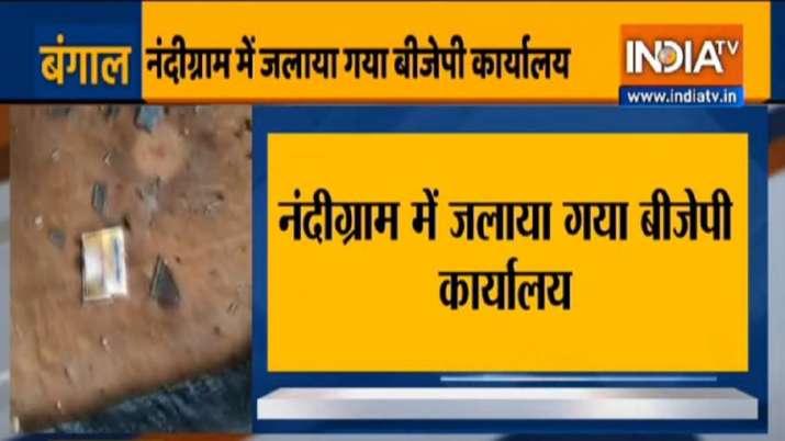 BJP's Nandigram office sets on fire