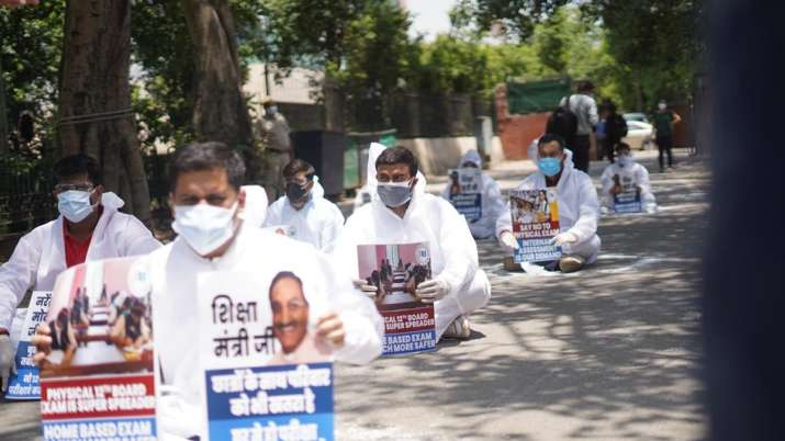 NSUI said in a statement that the protesters wore PPE kits