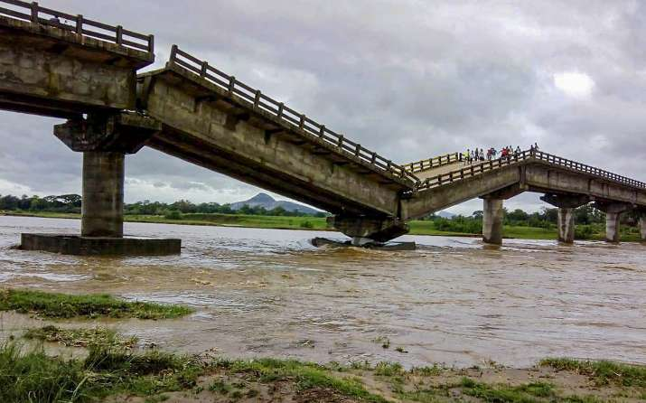 Ranchi: A bridge at river Kanchi after it collapsed due to