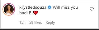 India Tv - Krystle D'Souza's comment