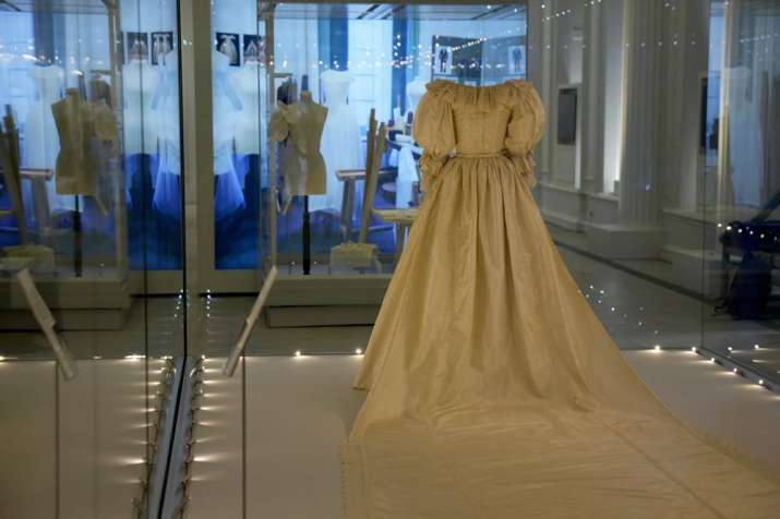 India Tv - The wedding dress of Britain's Princess Diana is displayed during a media preview for the