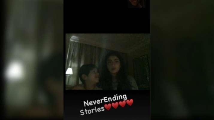 India Tv - Shweta Tiwari's video-calling post with kids
