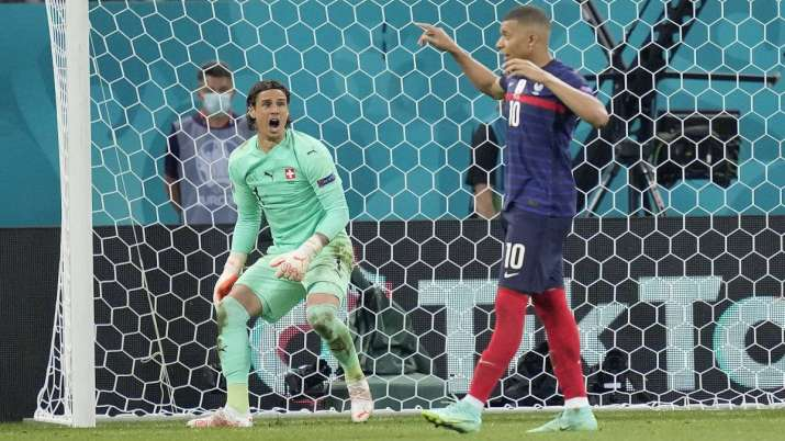 Switzerland's goalkeeper Yann Sommer reacts after France's