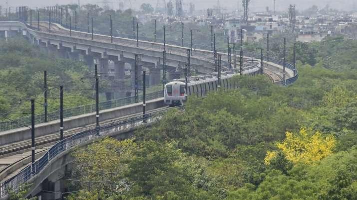 View of Metro train in Delhi.