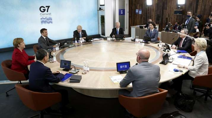 US President Joe Biden with delegations from other
