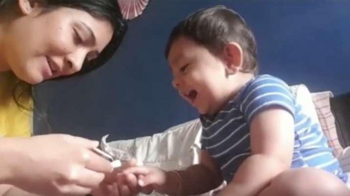 Yash's toddler son giggles during nail trim from mom Radhika