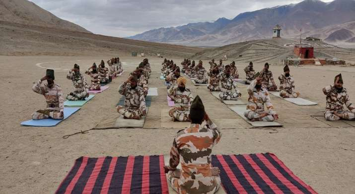 International Yoga day: ITBP performs Yoga at 18,000ft icy