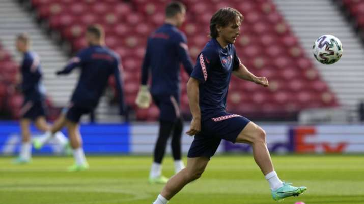 Croatia's Luka Modric controls the ball during a training session at the Hampden Park Stadium in Gla