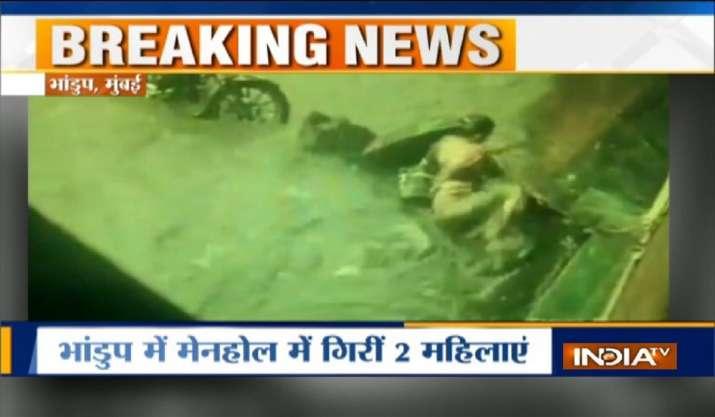 Mumbai Rains: Narrow escape for 2 women as they fall into
