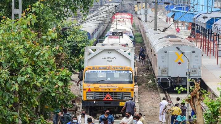The Oxygen Express train carrying around 11 tankers of
