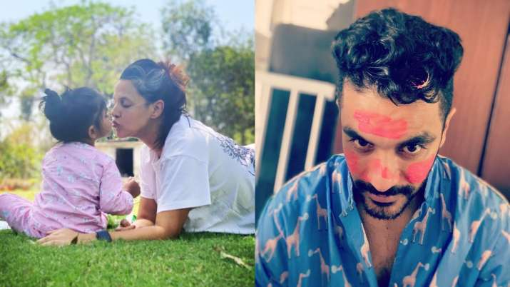 Neha Dhupia-Angad Bedi's daughter, Mehr, loves to paint in her mother's hands and father's face;  see photos