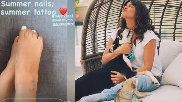 India Tv - Priyanka Chopra dedicates new tattoo to her pet dogs Diana, Gino and Panda