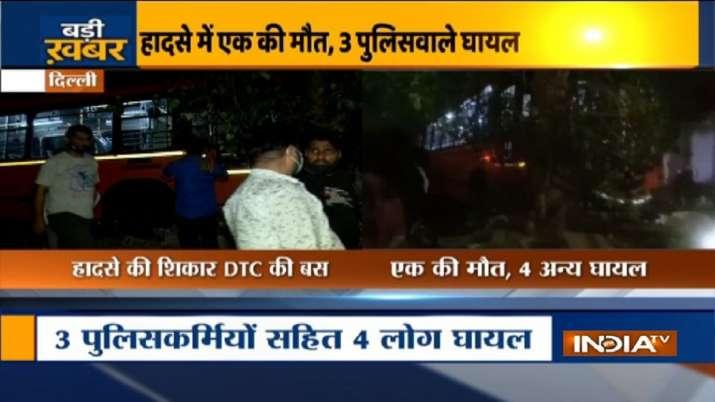 one killed, four injured, cluster bus, traffic police booth, north Delhi, crime news, delhi news lat