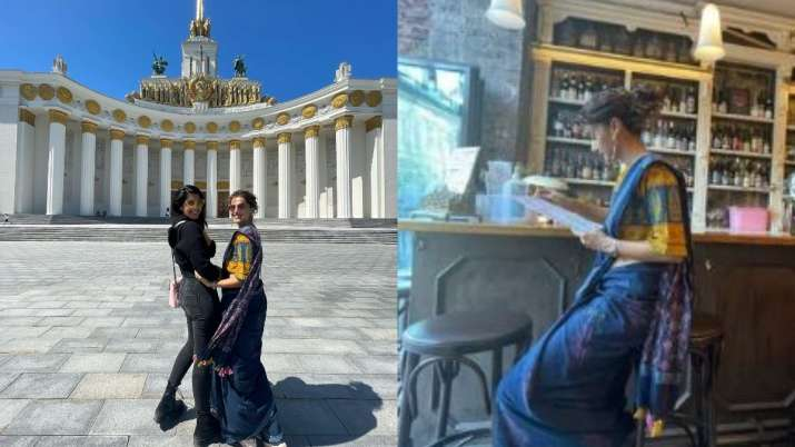Taapsee Pannu channels her inner 'desi girl' as she roams around in Moscow wearing a saree | PICS | Celebrities News – India TV