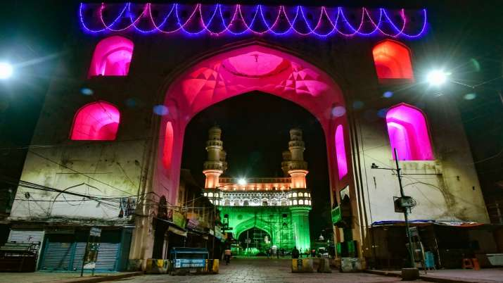 Charminar illuminated in tricolours on the occasion of