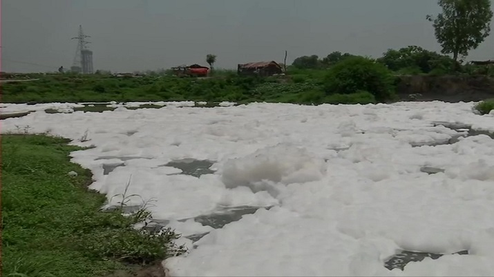 Delhi: Thick layer of toxic foam shrouds Yamuna river