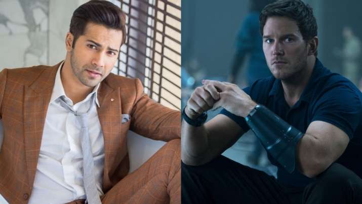 Chris Pratt picks up a friendly banner with Varun Dhawan as he shouts at Indian fans