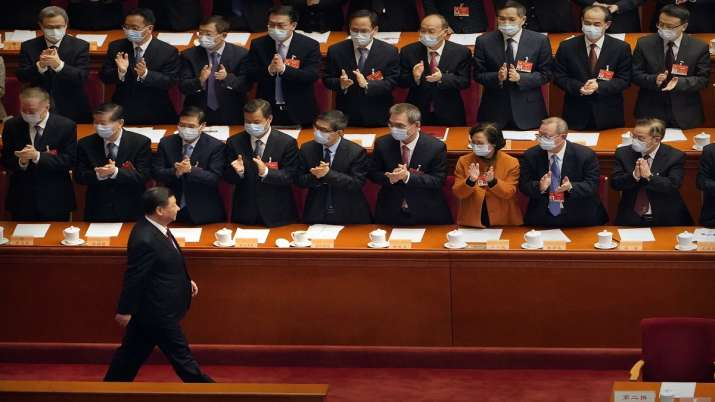 Chinese President Xi Jinping, foreground center, and high