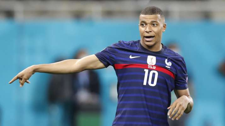 India Tv - ce's Kylian Mbappe reacts after missing a scoring chance the Euro 2020 soccer championship round of 16 match between France and Switzerland at the National Arena stadium in Bucharest, Romania, Tuesday, June 29