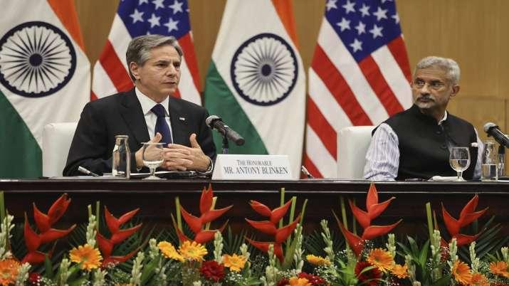 US Secretary of State Antony Blinken, left, speaks as