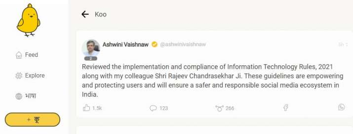 India Tv - IT, communications minister Ashwini Vaishnaw makes debut on Koo