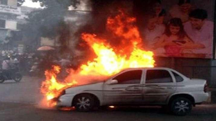 Gurugram, two burnt alive, car catches fire, collision, pole, Gurugram latest national news updates,