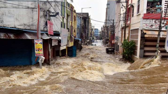 Orange alert was declared in Telangana amid heavy rains.
