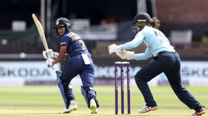 India Womens Harmanpreet Kaur bats against England during