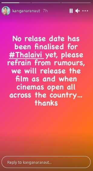 India Tv - Kangana Ranaut shares update on release date of Thalaivi