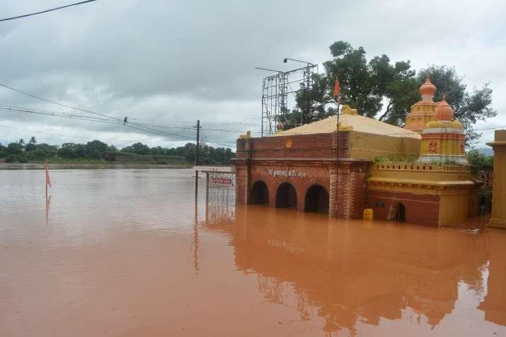 India Tv - Partially submerged Krishnamai temple due to overflow Koyna-Krishna river