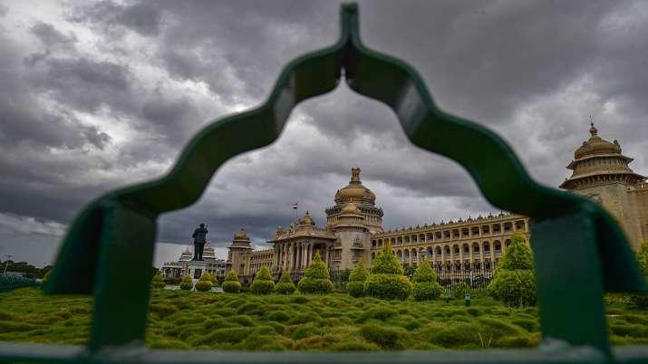 Monsoon clouds hover over Vidhanasoudha in Bengaluru.