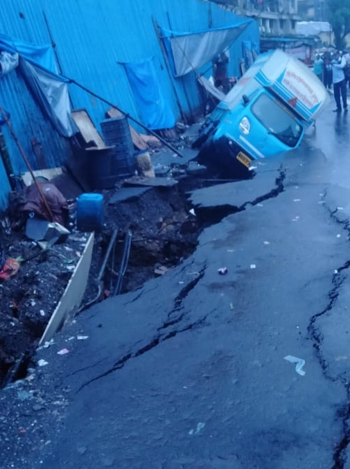 India Tv - A portion Sewri Cross Rd caves in Mumbai amid heavy rainfall